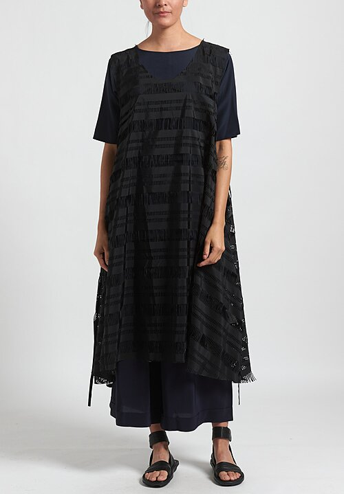 Rundholz Striped Laser-Cut Dress in Black