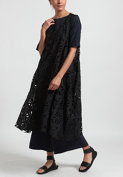 Rundholz Circular Laser-Cut Dress in Black