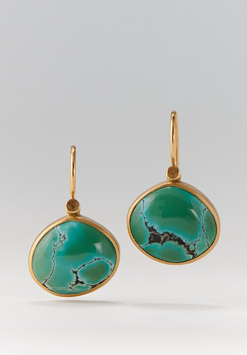 Lola Brooks 18K, Tibetan Turquoise Pebble Drop Earrings