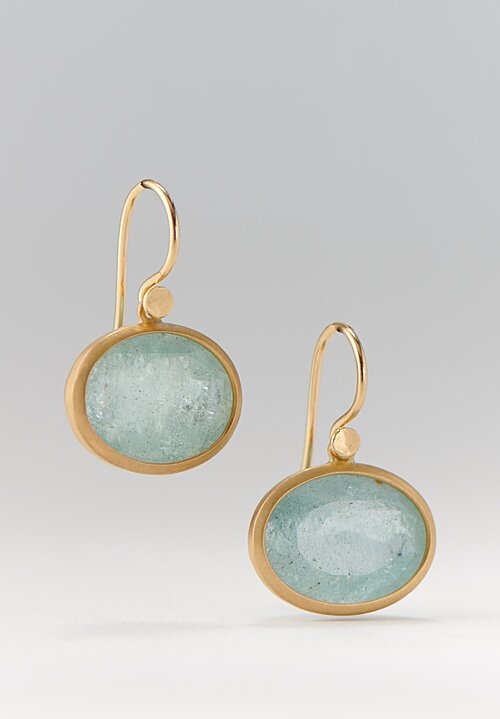 Lola Brooks 18K, Aquamarine Oval Drop Earrings