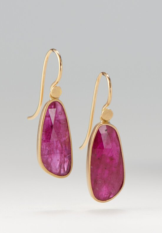 Lola Brooks 18K, Ruby Pebble Drop Earrings