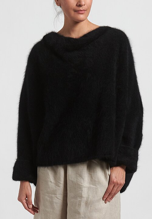 Rundholz Raccoon Hair Cowl Neck Sweater in Black