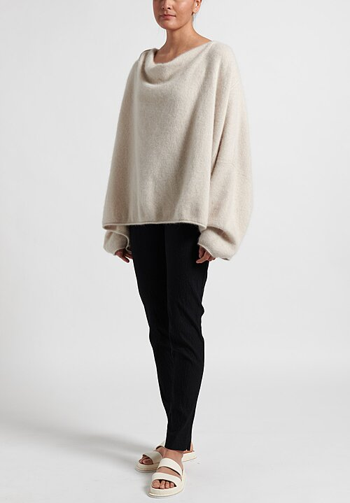 Rundholz Raccoon Hair Cowl Neck Sweater in Chalk White
