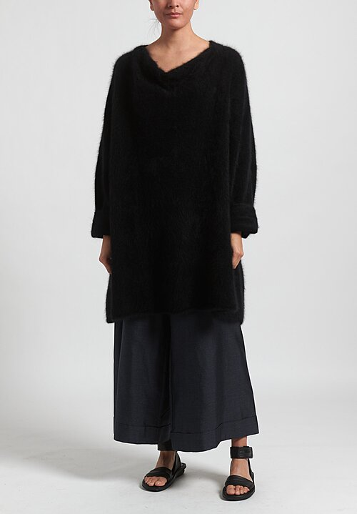 Rundholz Raccoon Hair Cowl Neck Tunic in Black