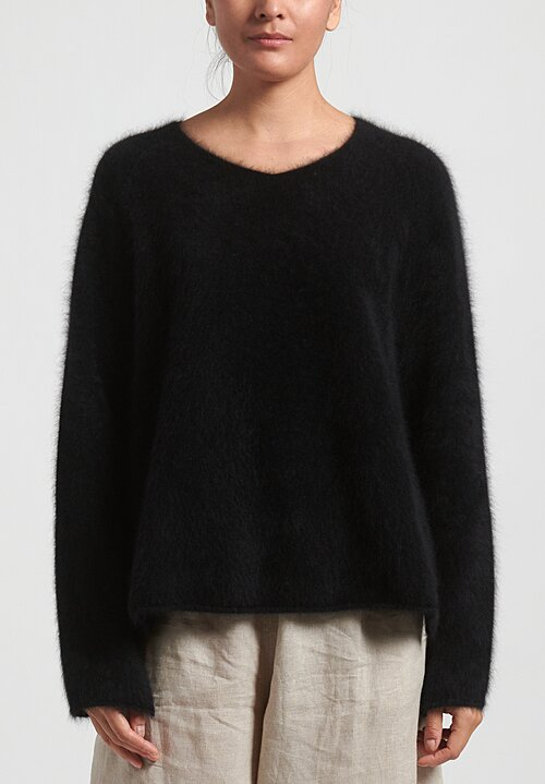 Rundholz Raccoon Hair Oversized Sweater in Black