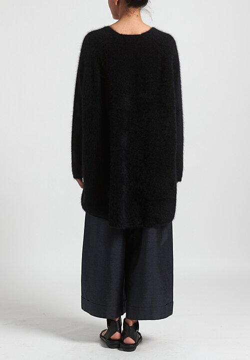 Rundholz Raccoon Hair Oversized V-Neck Tunic in Black