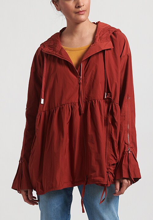 Rundholz Black Label Multi-Zipper Hooded Jacket in Berry Red