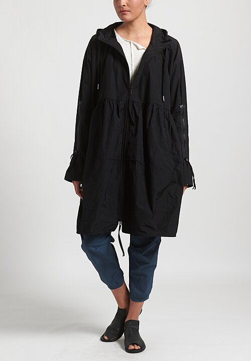 Rundholz Black Label Long Multi-Zipper Hooded Jacket in Black