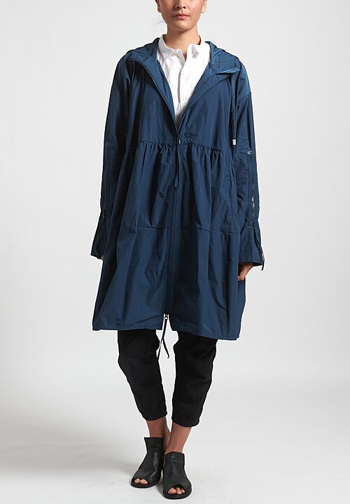 Rundholz Black Label Long Multi-Zipper Hooded Jacket in Plum Blue
