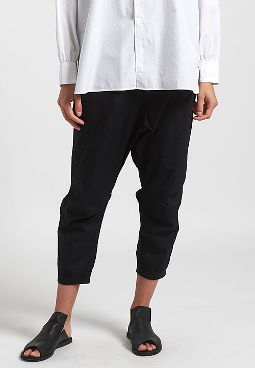 Rundholz Black Label Narrow Leg Drop Crotch Pants in Black