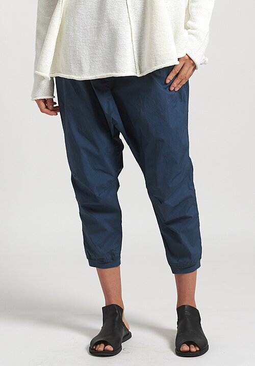 Rundholz Black Label Narrow Leg Drop Crotch Pants in Plum Blue