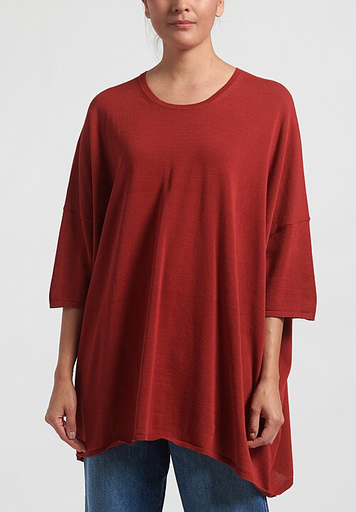 Rundholz Balck Label Short Sleeve Knit Tunic in Berry Red