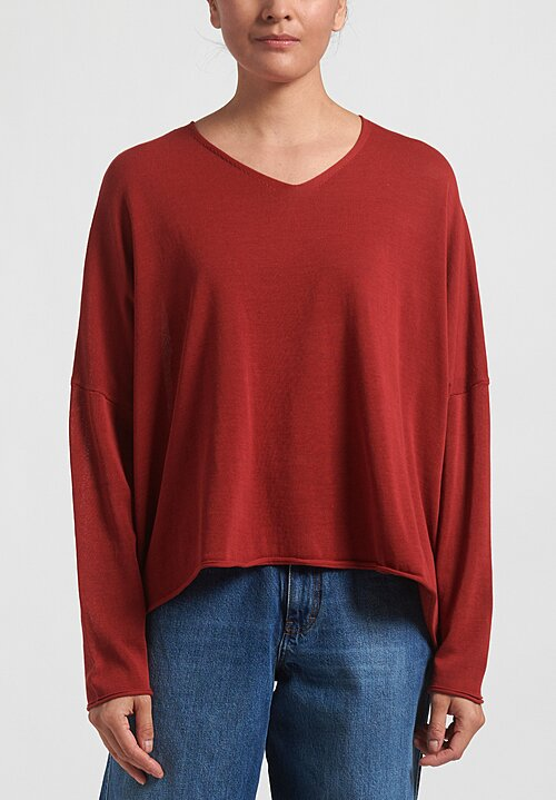 Rundholz Black Label Oversized Rolled Hem Top in Berry Red