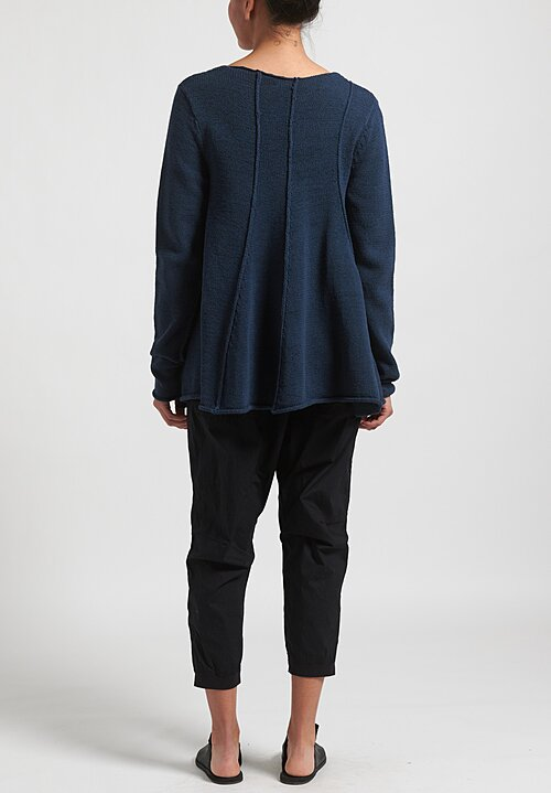 Rundholz Black Label Flared Panel Sweater in Plum Blue