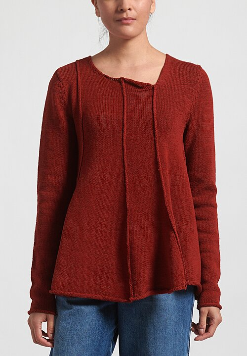 Rundholz Black Label Flared Panel Sweater in Berry Red