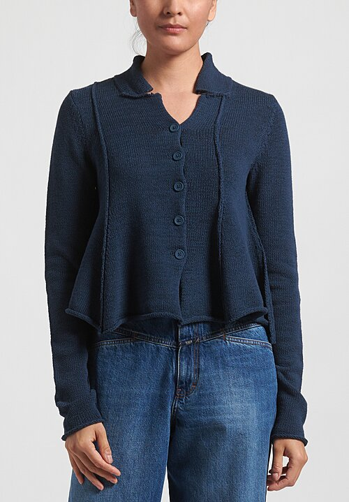 Rundholz Black Label Flared Panel Cardigan in Plum Blue