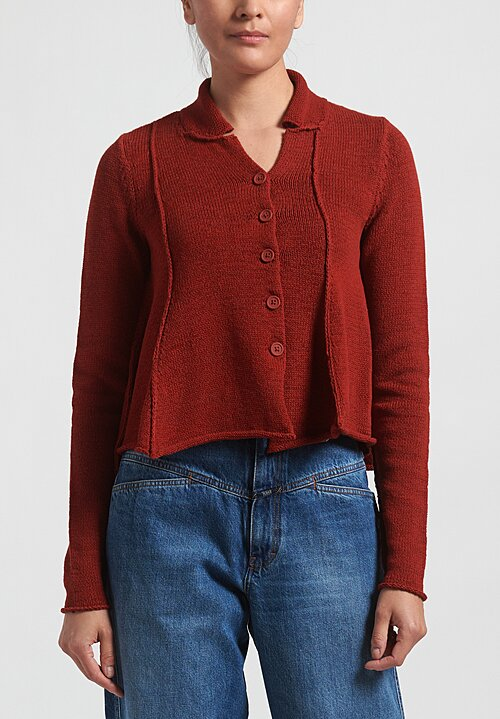 Rundholz Black Label Flared Panel Cardigan in Berry Red