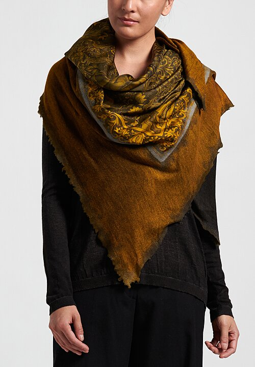 Avant Toi Cashmere/ Silk Small Felted Patchwork Scarf in Nero/ Gold