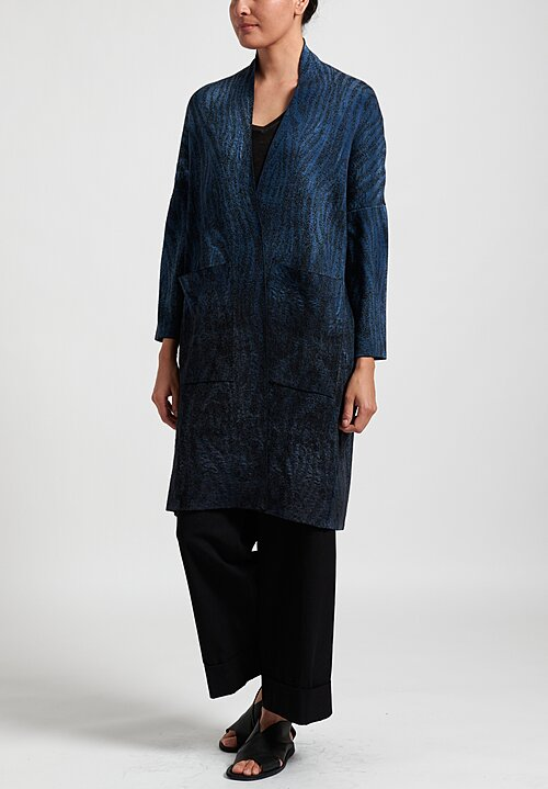 Avant Toi Ombre Animal Print Duster in Deep Blue