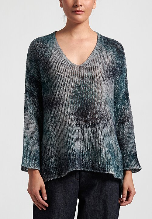 Avant Toi Loose Knit Oversized V Neck Sweater in Blue/Grey
