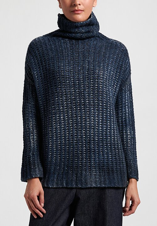 Avant Toi Oversize Cob Stitch Sweater in Nero/Deep Blue