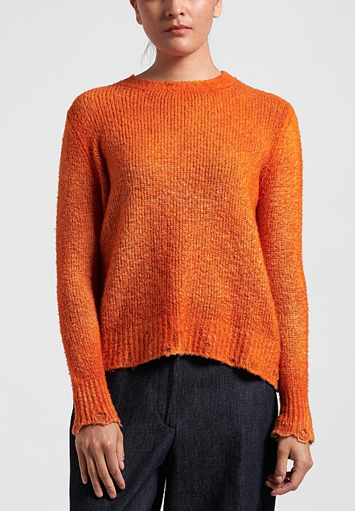 Avant Toi Distressed Edges Two-Tone Sweater in Toffee/Marmalade