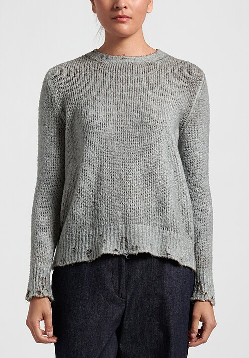 Avant Toi Distressed Edges Two-Tone Sweater in Safari/ Ghiaccio