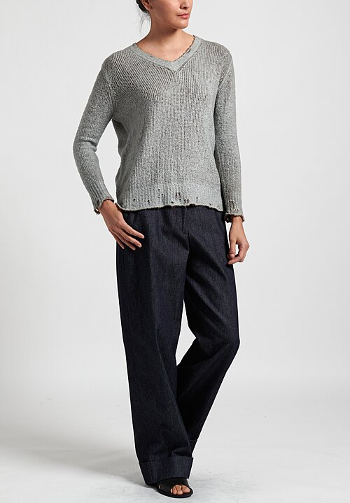 Avant Toi Distressed Edges Two-Tone V-Neck Sweater in Safari/ Ghiaccio