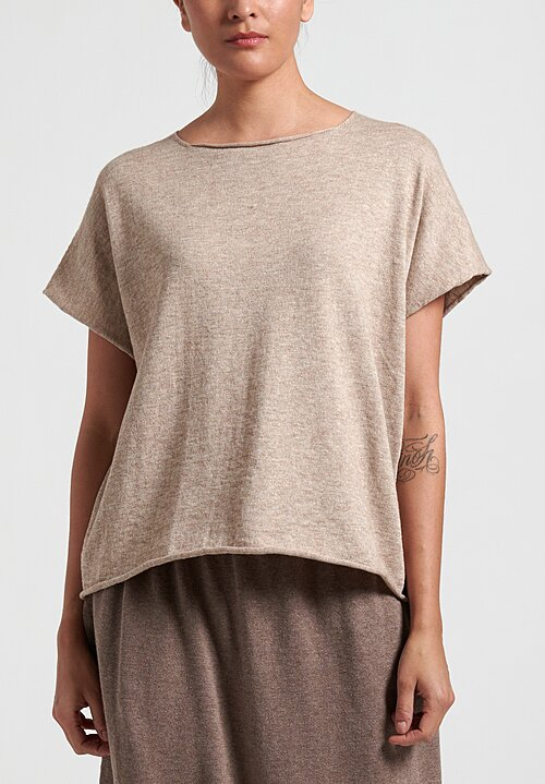 Lauren Manoogian Raw Edges Shell Tee in Ecru Melange