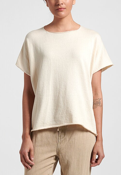 Lauren Manoogian Raw Edges Shell Tee in Raw White