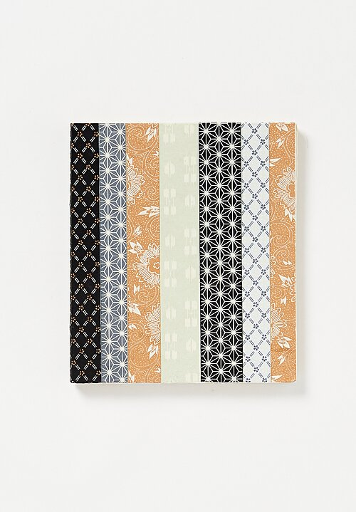 Elam Handprinted Japanese Chiyogami Paper Notebook in Vertical Kimono Stripes