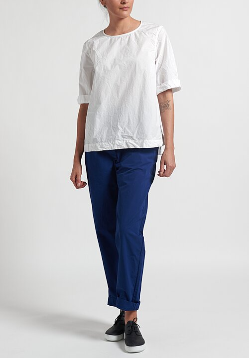 Casey Casey Wrinkled Short Sleeve Simple Top in White