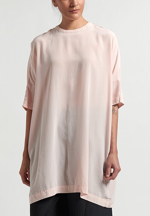 Casey Casey Oversized Silk Odem T-Shirt	in Pale Pink