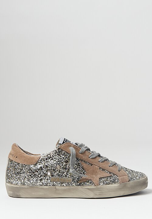 Golden Goose Glitter & Suede Superstar Sneaker in Silver and Tan