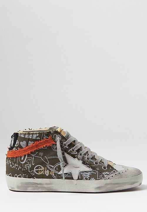 Golden Goose Journey Print Mid Star Sneaker in Brown