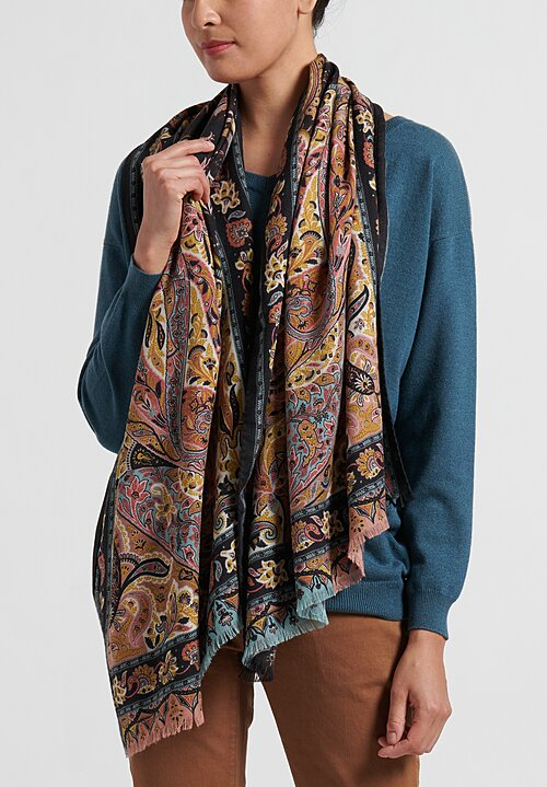 Etro Cashmere/Silk Paisley Scarf in Black/Gold