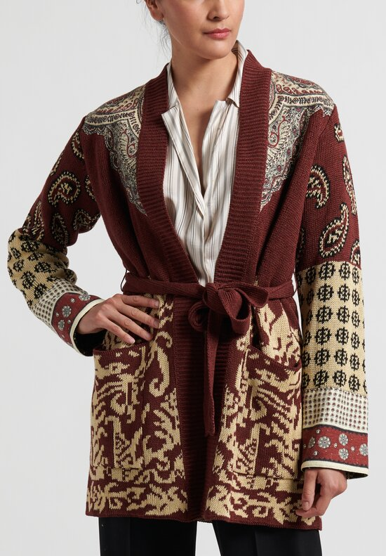 Etro Silk-Blend Belted Paisley Cardigan in Burgundy