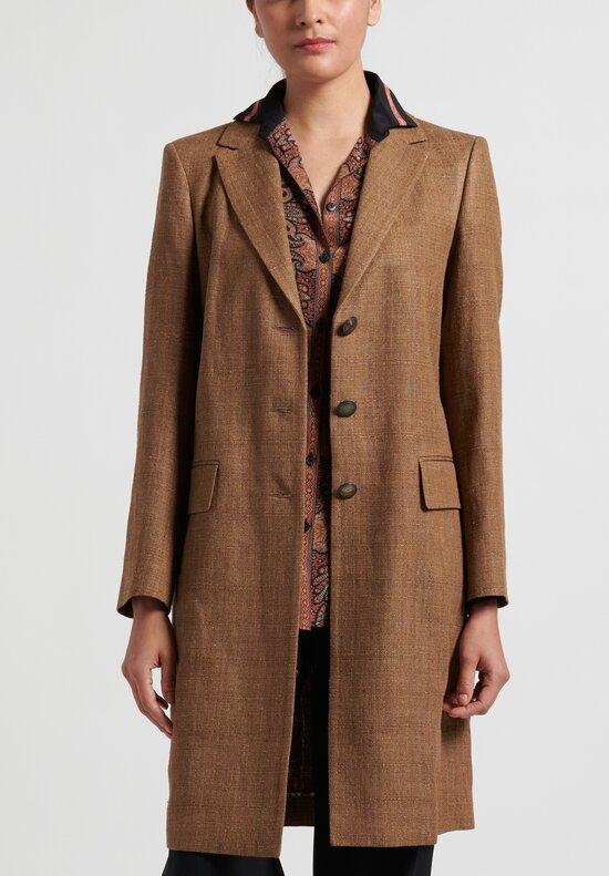 Etro Silk Blend Button-Up Coat in Tan