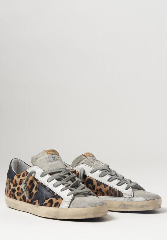 Golden Goose Calf Leather Leopard Super-Star Sneaker