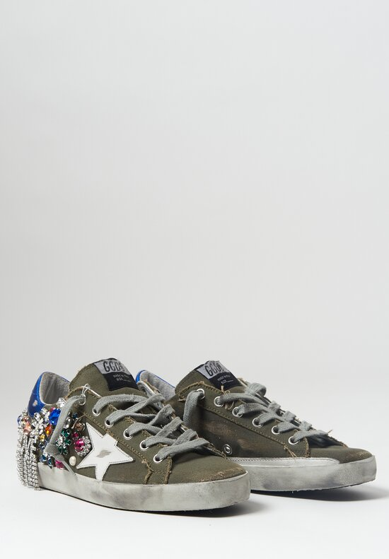 Golden Goose Canvas Crystal Love Super-Star Sneaker