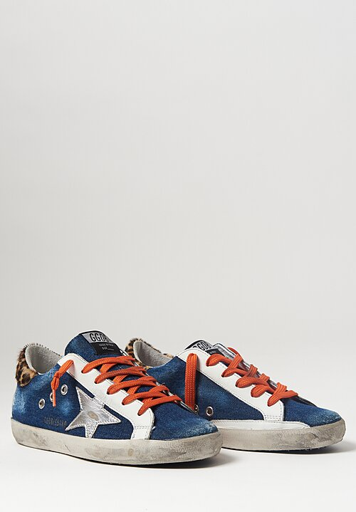 Golden Goose Denim Leopard Heel Super-Star Sneaker