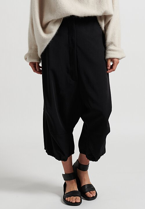 Rundholz Wide-Leg Drop Crotch Pants in Black