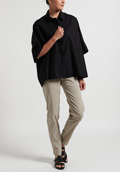 Rundholz Drop Shoulder Button-Up Blouse in Black