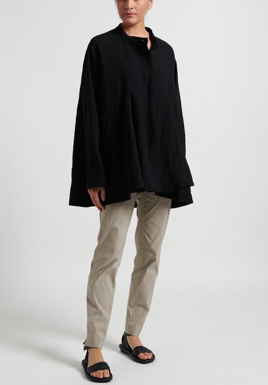 Rundholz Collarless Short Coat in Black