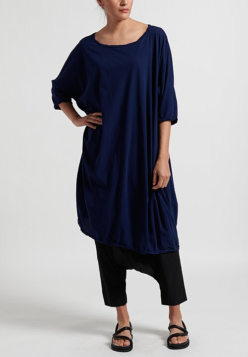Rundholz Dip Half-Sleeve Dress in Navy Blue