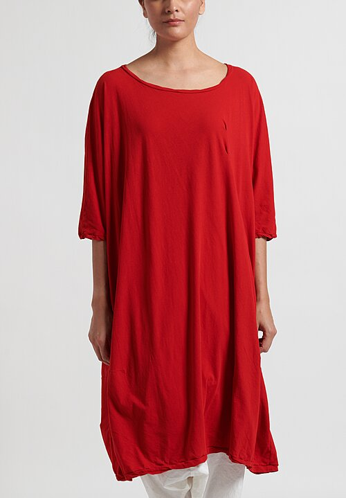 Rundholz Dip Half-Sleeve Dress in Red
