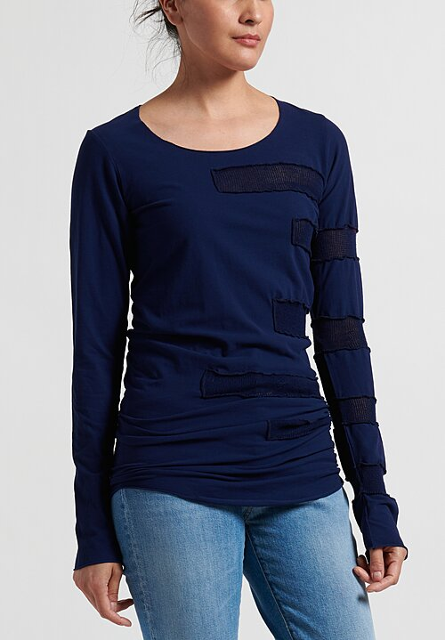 Rundholz Dip Long Striped-Side T-Shirt in Navy Blue