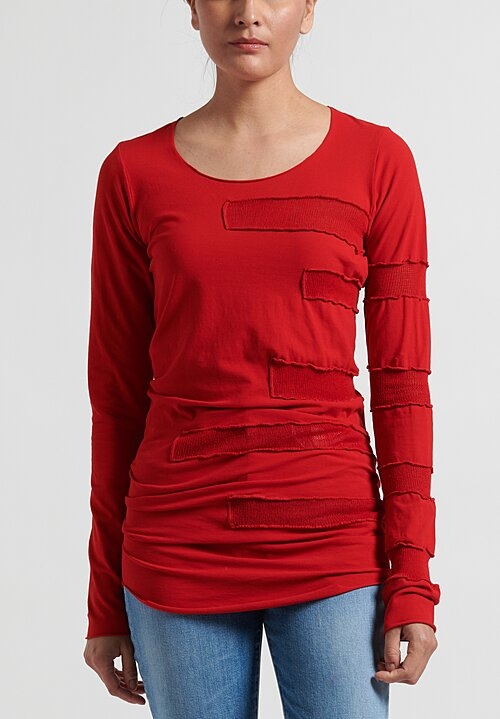 Rundholz Dip Long Striped-Side T-Shirt in Red