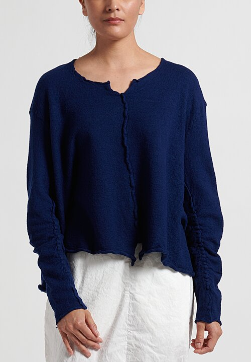Rundholz Dip Short Raw-Edge Knitted Tunic in Blue