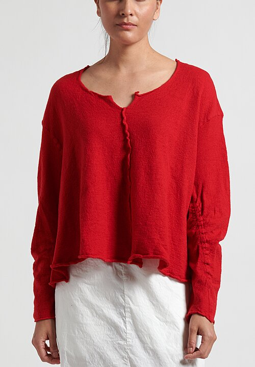 Rundholz Dip Short Raw-Edge Knitted Tunic in Red